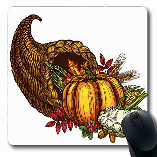 Ahawoso Mousepads Fruit Abundance Thanksgiving Day Cornucopia Autumn Harvest November Sketch Holidays Acorn America Oblong Shape 7.9 x 9.5 Inches Non-Slip Gaming Mouse Pad Rubber Oblong -