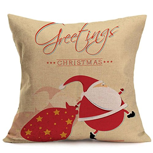 """iLH Pillow Cases,ZYooh Christmas Linen Throw Pillow Cases Sofa Cushion Cover Home Party Decoration 18"""" (F)"""
