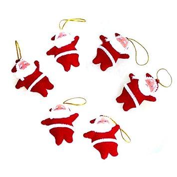 Ogquaton 6Pcs Navidad plástico Colgante árbol de Navidad decoración Santa Claus muñeca Adornos de Bricolaje (Rojo): Amazon.es: Hogar