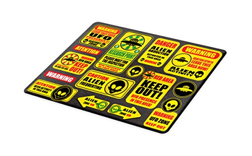 Lunarable Outer Space Cutting Board, Warning Ufo Signs with Alien Faces Heads Galactic Theme Paranormal Activity Design, Decorative Tempered Glass Cutting and Serving Board, Large Size, Yellow by Lunarable