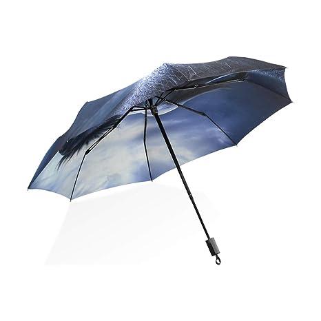 ISAOA Paraguas de Viaje automático Compacto Plegable Paraguas Caballo Correr por la Noche Resistente al Viento