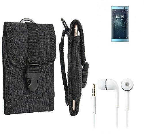 bolsa del cinturón / funda para Sony Xperia XA2 Dual-SIM, negro + Auriculares   caja del teléfono cubierta protectora bolso - K-S-Trade (TM)