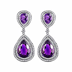 Diamond Studded Purple Amethyst Earrings