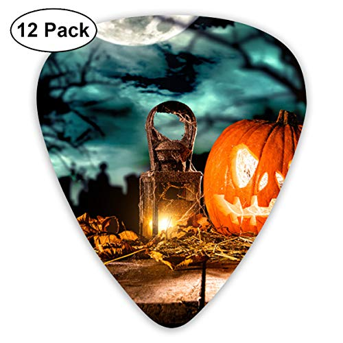 Scary Halloween Pumpkin On Wooden Planks Bendy Ultra Thin 0.46 Med 0.73 Thick 0.96mm 4 Pieces Each Base Prime Plastic Jazz Mandolin Bass Ukelele Guitar Pick Plectrum Display -