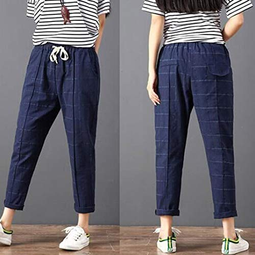 Pantaloni da strisce vita Blu vita Pantaloni casual Pantaloni bassa donna Donna Navy da Pantaloni a donna Elecenty bassa a a xSRfqzB