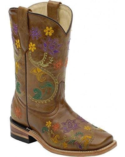 CORRAL Kids' Brown Multicolor Flower Vine Square Toe Cowboy Boots G1155 (10 D(K) US) ()