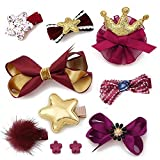 Fashion Boutique 10pcs Baby Hair Clips for Fine Hair No Slip 0-6 Edges Hair Barrettes Bow Hair Accessories for Baby Infant Toddlers Girl Birthday Christmas Gift (Red+Gold)