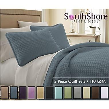 Southshore Fine Linens® 3 Piece Oversized Quilt Sets (Queen, Steel Blue)