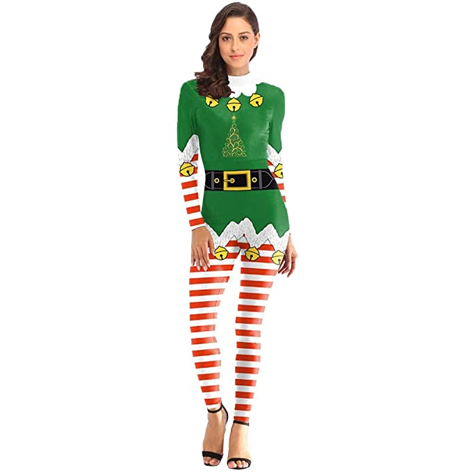 Amazon.com: NRUTUP Women Christmas Jumpsuits Suit Santa ...