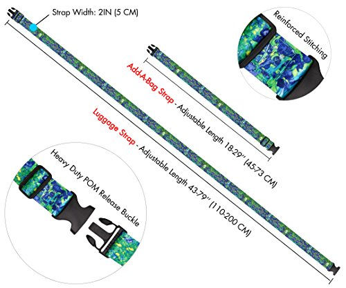 Vincent Van Gogh Irises Travel Luggage Strap Suitcase Security Belt. Heavy Duty & Adjustable. Must Have Travel Accessories. TSA Compliant. 1 Luggage Strap & 1 Add A Bag Strap. 2-Piece Set. by One In A Millionaire (Image #2)