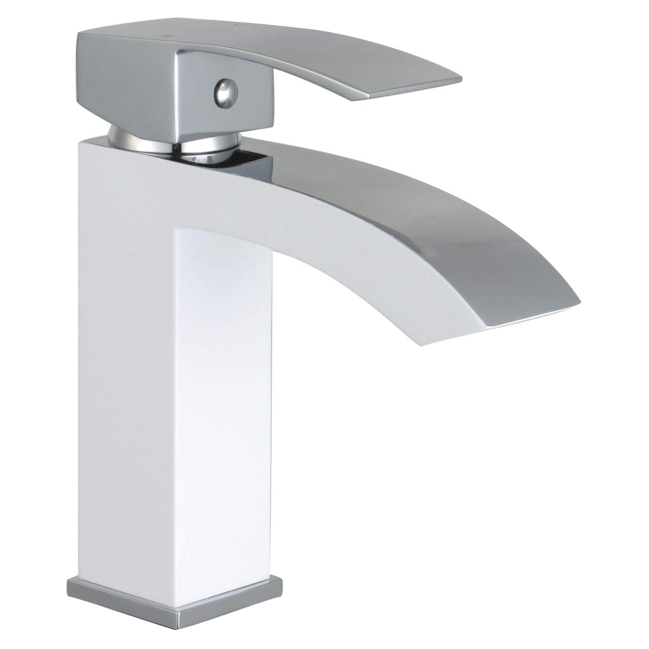 Matte White Polished Chrome Marella 6  Single Hole Single Handle Modern Bathroom Sink Faucet, Matte White Polished Chrome