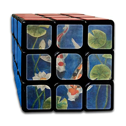 (Colorful Koi Fish Pond Water Lily Custom Personalized Speed Cube 3x3 Smooth Magic Cube Puzzle Game Black)