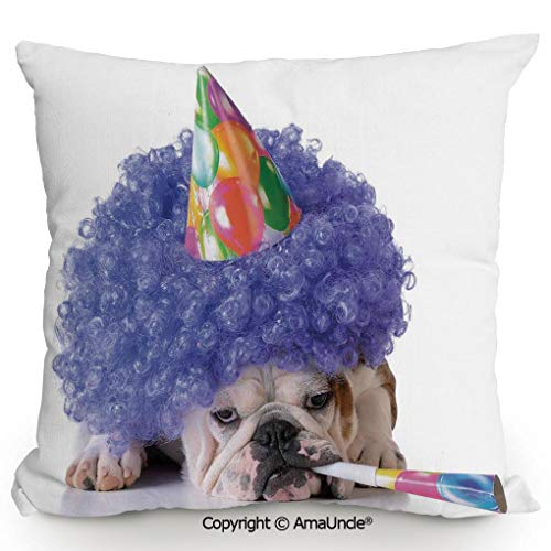 AmaUncle Decorative Square Throw Pillow Case with Cotton and Linen,Boxer Dog Animal with Purple Wig with Colorful Party Cone,W16xL16 Inches,Modern Design with 3D Printed Soft and Durable