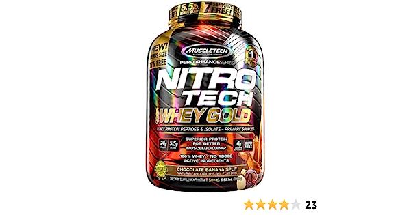 Muscletech Nitro Tech 100% Whey Gold Suplemento de Proteínas Chocolate Banana Split - 2500 gr