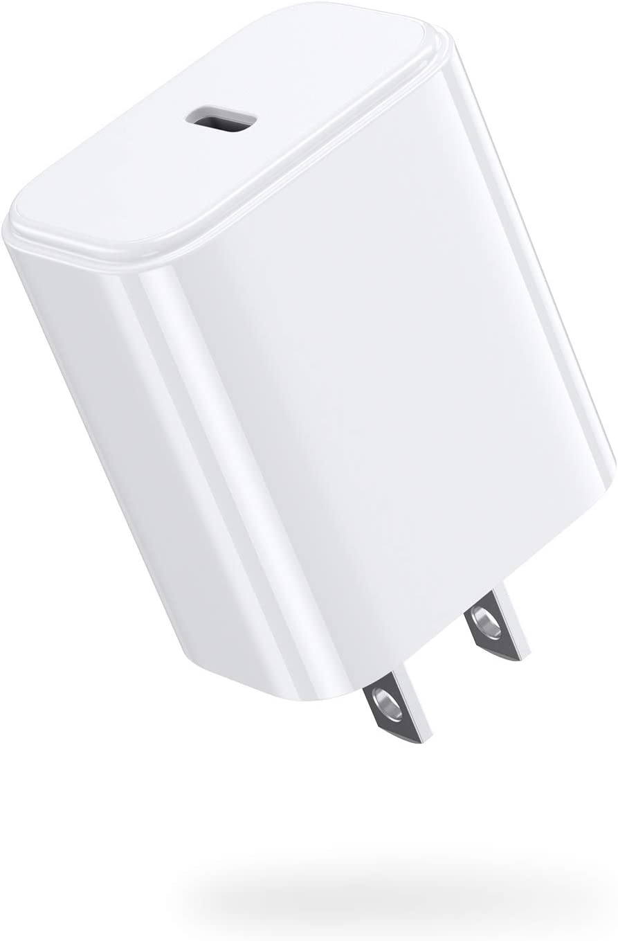 20W USB-C Power Adapter, JSAUX iPhone 12 Wall Charger PD 3.0 Type C Fast Adapter, Compatible with iPhone 12 Mini/12/12 Pro/12 Pro Max, iPhone 11, iPhone 8 Plus, iPad Pro, AirPods Pro, Pixel 3-White