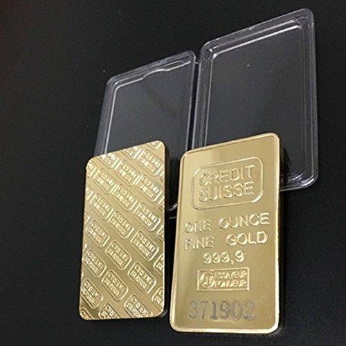 Five Pcs Oz Gold Plated Credit Suisse Souvenir Bullion Bars   Plated Bars   Golden