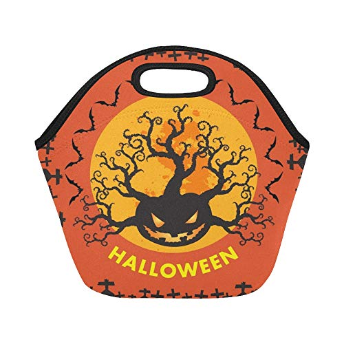 Insulated Neoprene Lunch Bag Halloween Holiday On Oct 31 Large Size Reusable Thermal Thick Lunch Tote Bags For Lunch Boxes For Outdoors,work, Office, -