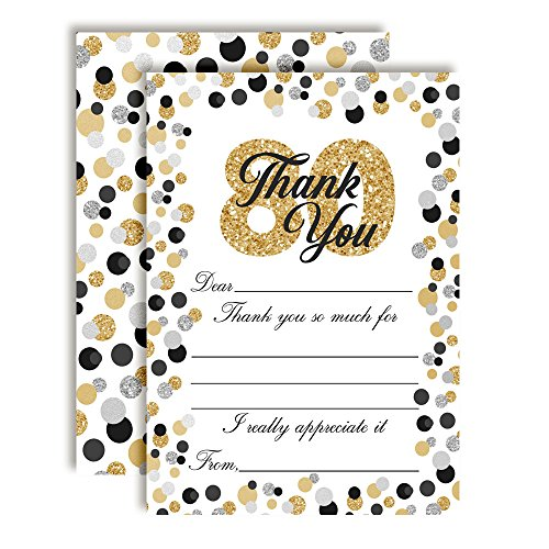 Border Big Bold (Confetti Polka Dot 80th Themed Thank You Notes, Ten 4