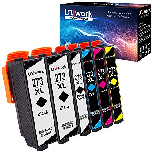 (Uniwork Remanufactured Ink Cartridge Replacement for Epson 273XL 273 XL T273XL use for XP820 XP810 XP800 XP620 XP610 XP600 XP520 Printer (2 Black, 1 Photo Black, 1 Cyan, 1 Magenta, 1 Yellow), 6 Pack)
