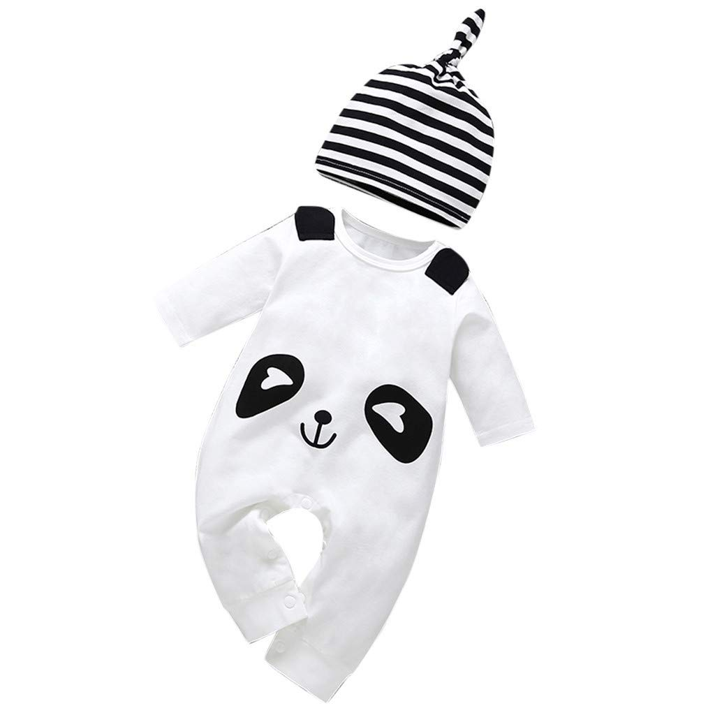 Gornorriss Baby Rompers Infant Toddler Cartoon Panda Hat Jumpsuit Romper Clothes