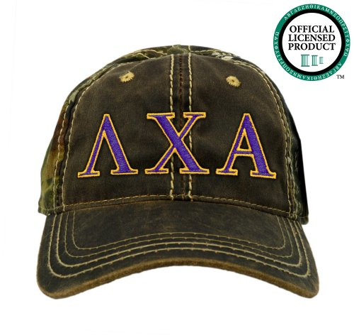 Lambda Chi Alpha (Lamda Chi) Embroidered Camo Baseball Hat, Various Colors