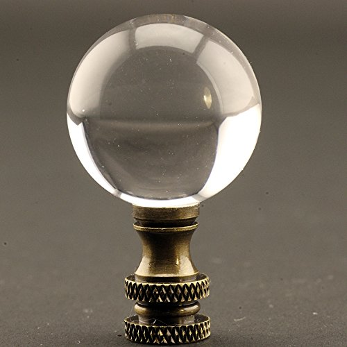 Acrylic Polished 30 MM (1.18 Inch) Diameter Ball Lamp Finial 2 Inches High with choice of base colors (Antique Brass)