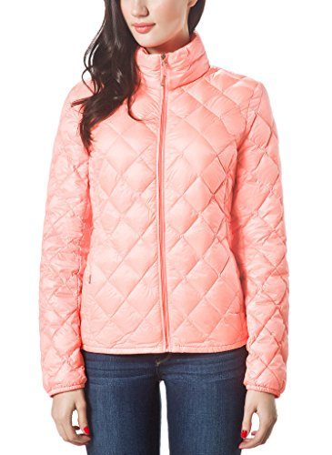 XPOSURZONE Women Packable Down Quilted Jacket Lightweight Puffer Coat Neon Tropical Peach M