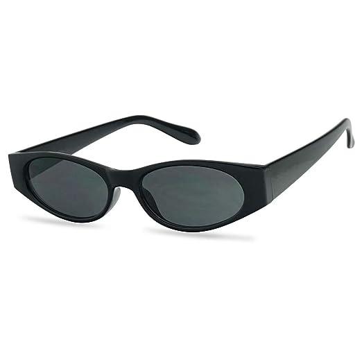 ffa92bdc354 90 s Super Retro Small Narrow Oval Horn Rimmed Rectangular Sunglasses  (Black Frame