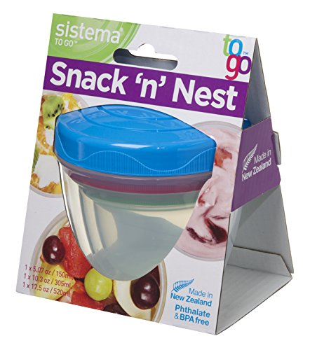 Screw Top Plastic (Sistema To Go Collection Snack N' Nest Food Storage Containers with Twist Off Lid, Assorted Colors, Set of 3)