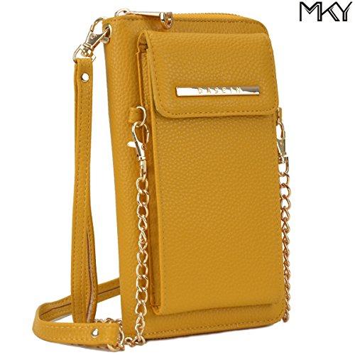 Cellphone Wallet Smartphone Pouch Clutch Purse Crossbody Shoulder Bag Wristlet Smart Phone Case Mustard