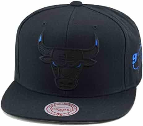 1da4f8af7e5c5 Mitchell   Ness Chicago Bulls Snapback Hat Black Blue Eye Ballistic Nylon