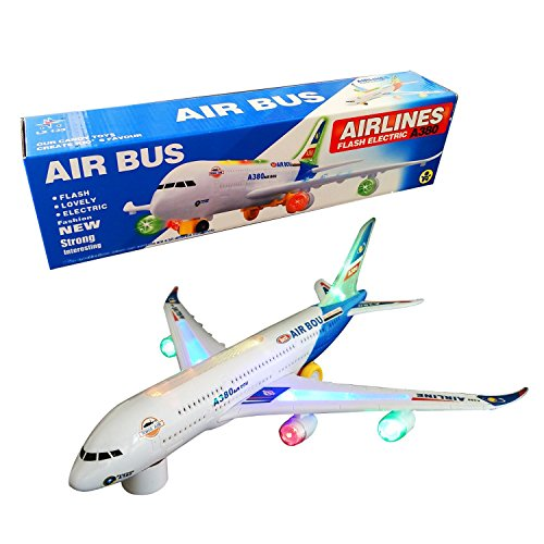 Battery Operated Electric Airbus Toy With Flashing Lights and Real Jet Engine Sound, Bump and Go Action A380 Airplane - Changes Direction On Contact - Best Toys For Kids Age 3 And Up (colors may vary)