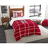 2 Piece NCAA COL Nebraska Cornhuskers Lincoln Twin Comforter Set, Red White, Sports Patterned Bedding, Featuring Team Logo, Nebraska Merchandise, Team Spirit, College Football Themed, Polyester