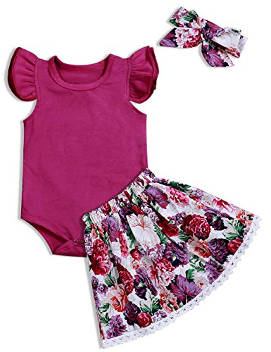 Baby Clothing Kids Summer Clothes Girls Flower Printing Vest + Pure Color Pants Children Clothing Set (Purple, 3-6M)
