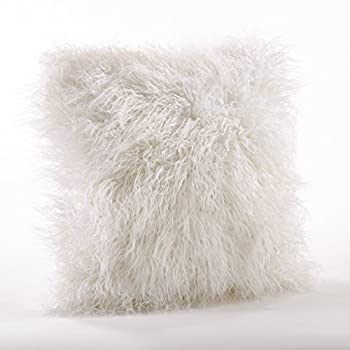 Faux Mongolian Fur Poly Filled Throw Pillow (Ivory)