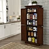 Beautiful Cherry Kitchen Pantry, 4 Storage Doors, 4 Adjustable Shelves, Antiqued Brass Hardware
