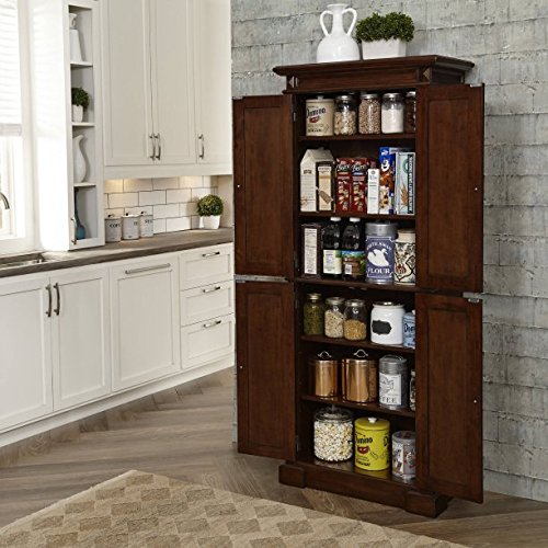 Beautiful Cherry Kitchen Pantry, 4 Storage Doors, 4 Adjustable Shelves, Antiqued Brass Hardware by GAShop
