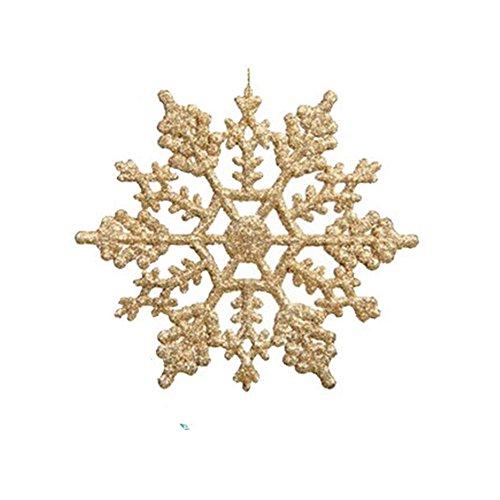 Glitter Snowflake Christmas Ornaments (Snowflake Christmas Ornaments, Adela Set of 12 Gold Glitter Snowflake 4
