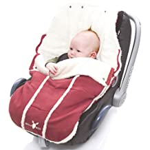 Wallaboo Bunting Bag Original, Luxurious Suede and Soft Faux Shearling, Fits Standard Size Car Seats , For 0 To 6 Months, Newborn, Warm Red