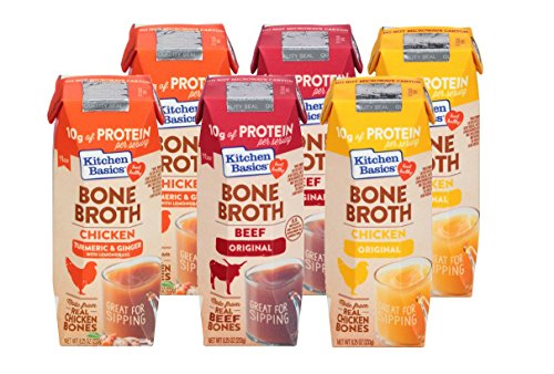 Kitchen Basics Bone Broth 6-pack of 8.25 oz: 2 Original Chicken, 2 Turmeric & Ginger, 2 Beef (Chicken Sauteed)