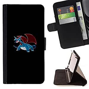 P0Kemon Salamence - Painting Art Smile Face Style Design PU Leather Flip Stand Case Cover FOR HTC One M7 @ The Smurfs