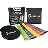 Ultimate Gliding Discs & Resistance Bands Set | 2 x Fitness Core Sliders & 5 x Workout Bands For Full-Body Training At Home & Office | Build Muscle Strength, Stability & Stamina with eBook