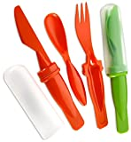 Plastic Camping Cutlery Set- 2 Pack 3 Pieces Includes Plastic Knife Spoon And Fork – Plastic Cover – Assorted Colors Great For Camping, And Lunches, Outdoor Grills, Hiking, - By Katzco
