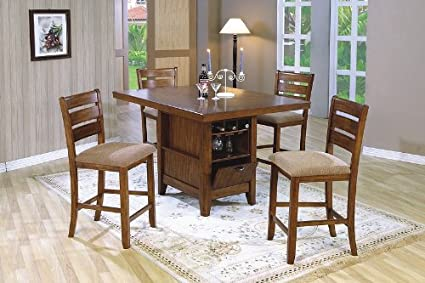 Counter Height 5 Piece Dining Table/Kitchen Island Set With Wine Rack In  Oak (