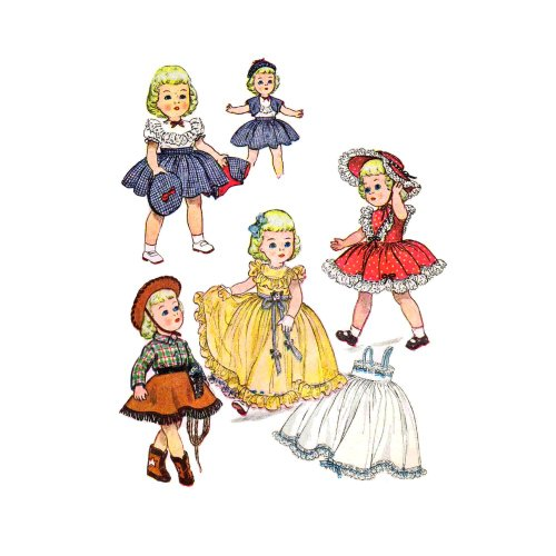 1950s Doll Clothes Wardrobe Simplicity 3729 Vintage Sewing Pattern Fits 14 inch Dolls Doll Wardrobe Simplicity Patterns