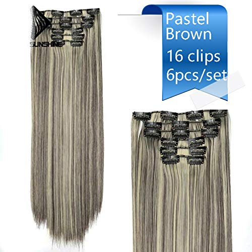 22'' 140G Long Silky Straight 16Clips In Hair Extensions Synthetic Fake Hairpiece False hair Clips Real Natural,Cstaht 13,22inches -