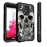 Untouchble Case for LG Tribute Dynasty, Fortune 2, Zone 4, Risio 3 Hard Case, LG Aristo 2 Rose Case [Traveler Series] Durable Two Layer Bumper Shell with Kickstand - Rose Petal Skull
