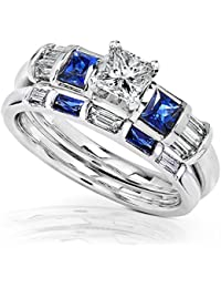 blue sapphire diamond wedding rings set 1 carat ctw in 14k white gold - Wedding Ring Sets For Bride And Groom