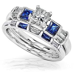 Blue Sapphire & Diamond Wedding Rings Set 1 Carat (ctw) In 14k White Gold