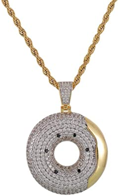 Moca Jewelry Iced Out Lightning Pendant Necklace 18K Gold Plated Bling CZ Simulated Diamond Hip Hop Rapper Chain Necklace for Men Women